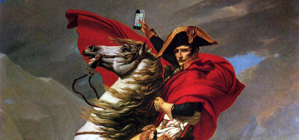 Napoleon the first holding an iphone